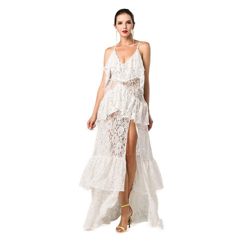 Image of White Layered Maxi Dress Women - Apparel Dresses