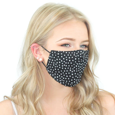 Reusable Cloth Face Mask With Pm2.5 Filter And Nose Bridge Polka Dot Beauty & Health