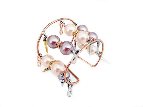 Handmade Pearl Cuff Bracelet With Vintage Rose Light Pearls Rhinestones Gold Charms Pointed Studs.