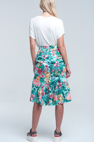 Floral Asymmetrical Green Skirt Womens Fashion - Clothing