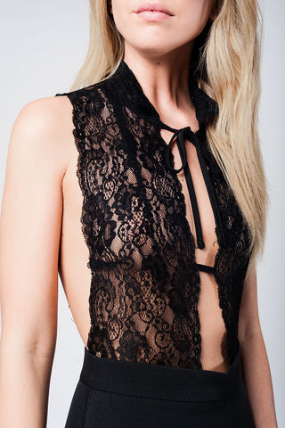 Black Eyelash Lace Plunge Body Womens Fashion - Intimates And Loungewear Sleepwears Sleep Tops