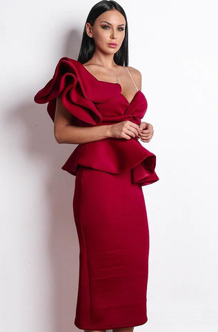 Image of Red Ankle Length Cocktail Dress Women - Apparel Dresses