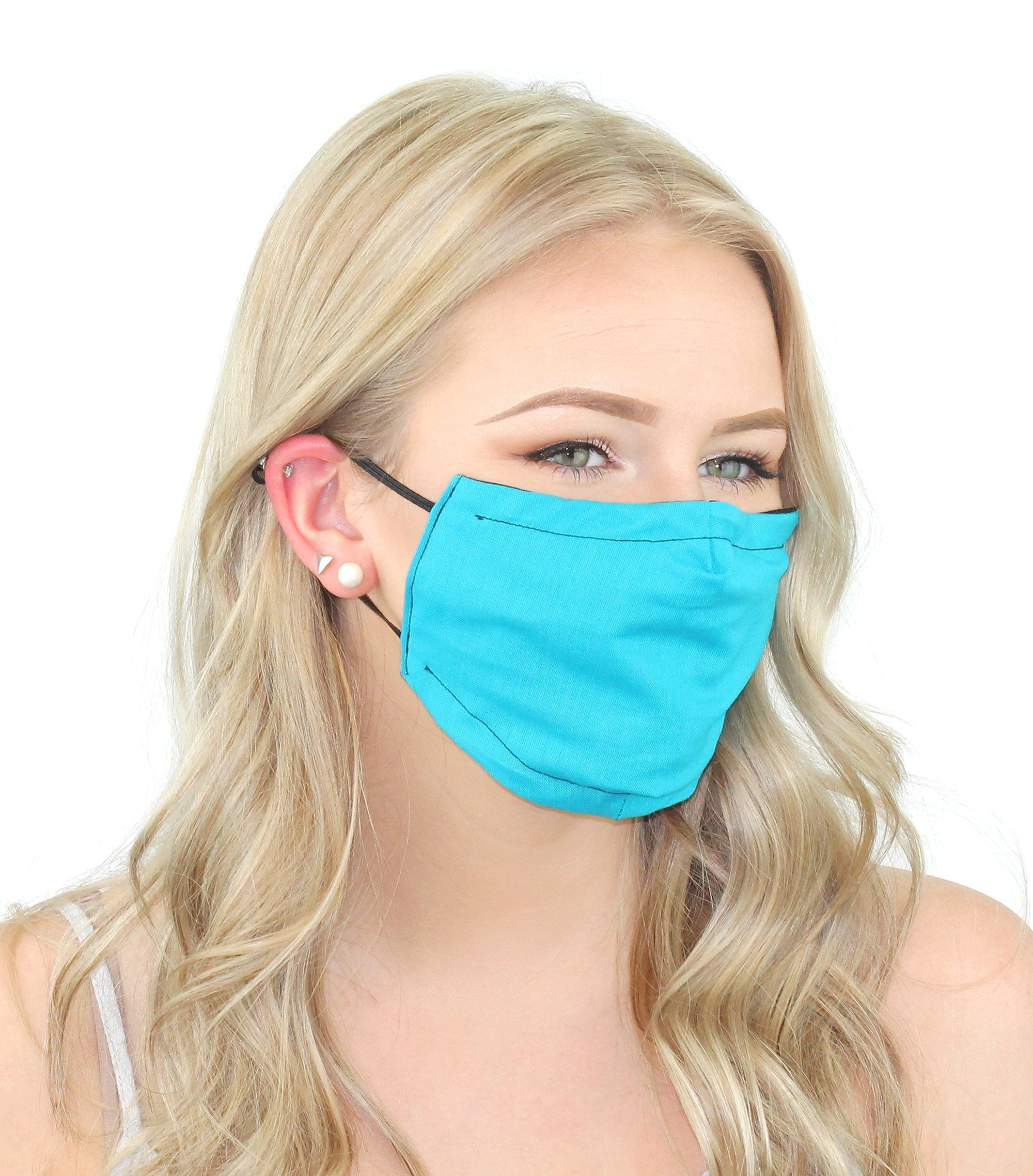 Reusable Cloth Face Mask With Pm2.5 Filter And Nose Bridge Turquoise Beauty & Health