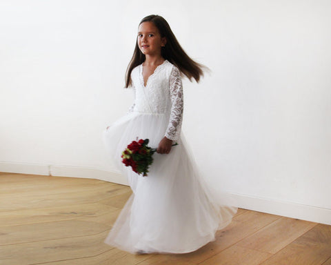 Image of Tulle And Lace Long Sleeves Ivory Flower Girls Gown 5043 Women - Apparel Bridal
