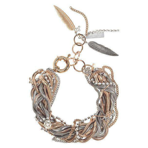 Silver And Rose Gold Snake Bracelet With Crystals Jewelry & Accessories - Bracelets Bangles