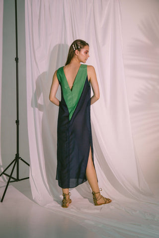 V-Neck Two Tone Beach Maxi Dress In Navy Green Sports & Entertainment - Swimming Cover-Ups