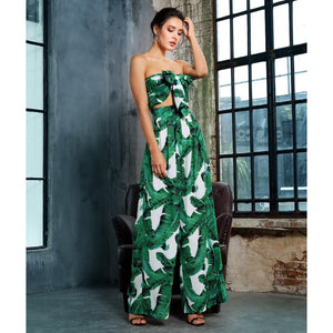 Green Print Two Piece