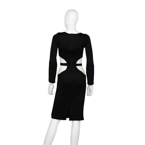 Long Sleeves Cutouts Neoprene Dress