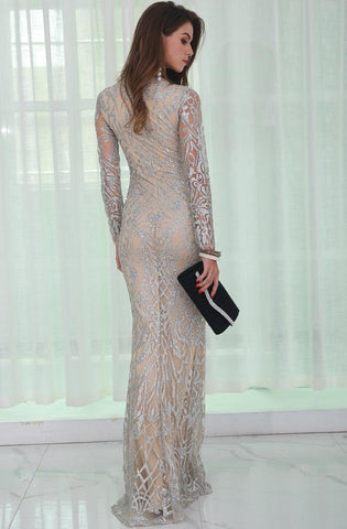Image of Silver Glitter Evening Dress Women - Apparel Dresses Cocktail
