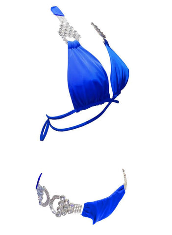 Image of Nicole Halter Top & Skimpy Bottom - Blue Women Apparel Swimwear Bikinis Separates