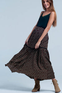 Green Floral Tiered Maxi Skirt Womens Fashion - Clothing
