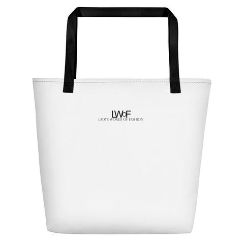 Image of Lwof - Ladys World Of Fashion Logo Print Beach Bag Black