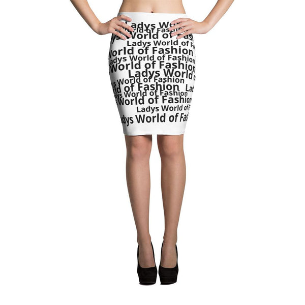 LWoF - Ladys World of Fashion Newspaper Print Logo Pencil Skirt