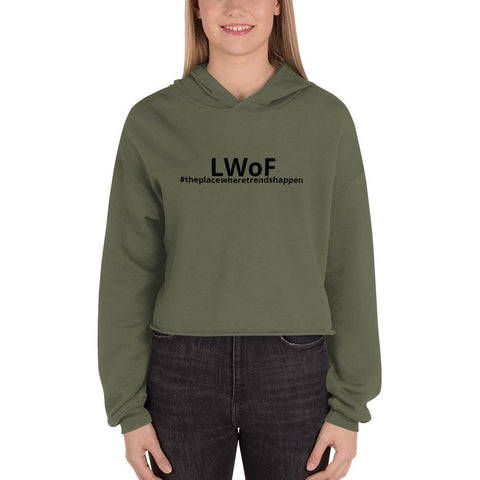 Image of Lwof - Ladys World Of Fashion Crop Hoodie Military Green / S