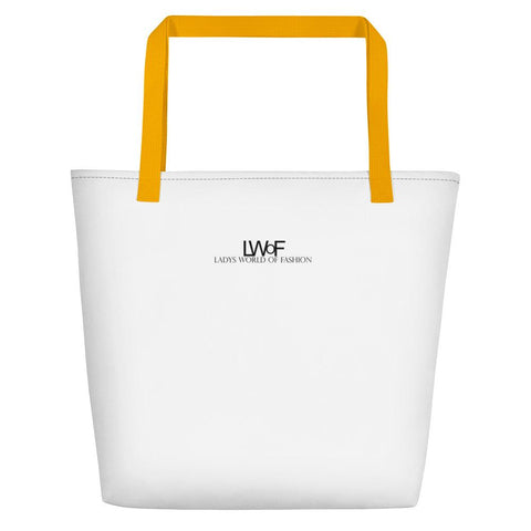 Image of Lwof - Ladys World Of Fashion Logo Print Beach Bag Yellow