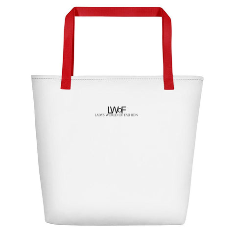 Image of Lwof - Ladys World Of Fashion Logo Print Beach Bag Red