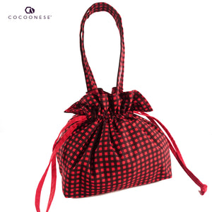 Drawstring Top Handle Handbag  - Red Check