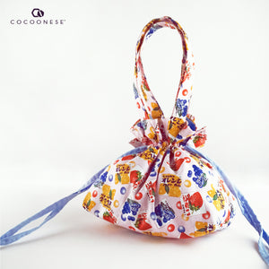 Drawstring Top Handle Handbag  - Chewing gum