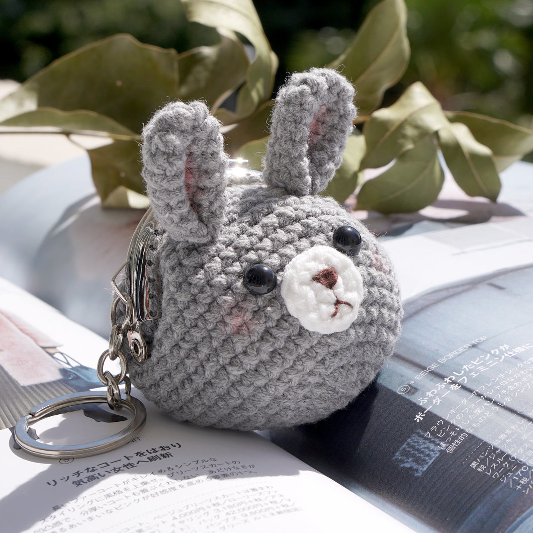 Animal Coin Purse with Key Chain - Grey Rabbit