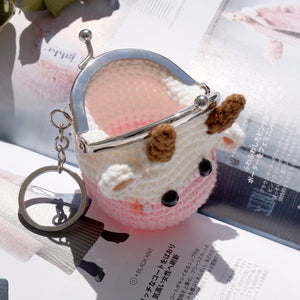 Animal Coin Purse with Key Chain - Cow