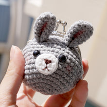 Load image into Gallery viewer, Animal Coin Purse with Key Chain - Grey Rabbit
