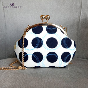 Acrylic Chain Handle Clasp Sling Bag - Dotted B&W