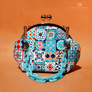 Acrylic Chain Handle Clasp Sling Bag - Peranakan Tiles