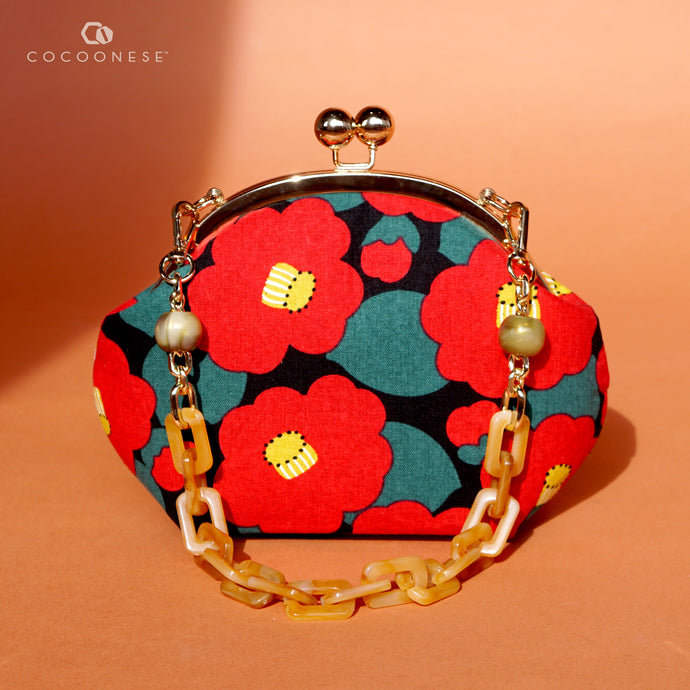 Acrylic Chain Handle Clasp Sling Bag - Camellia Japonica