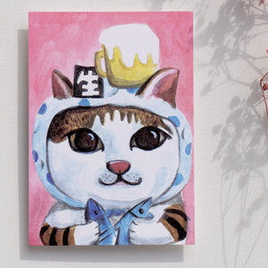"Postcards _ ""Beer child cat"" fun party 