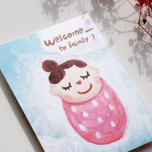 Postcards _ Newborn Baby Series Welcome to family - Caterpillar tender baby girl