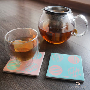 Water Absorbent Ceramic Coaster - Circlemesh Collection (Pink)