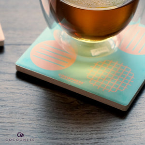 Water Absorbent Ceramic Coaster - Circlemesh Collection (Teal)