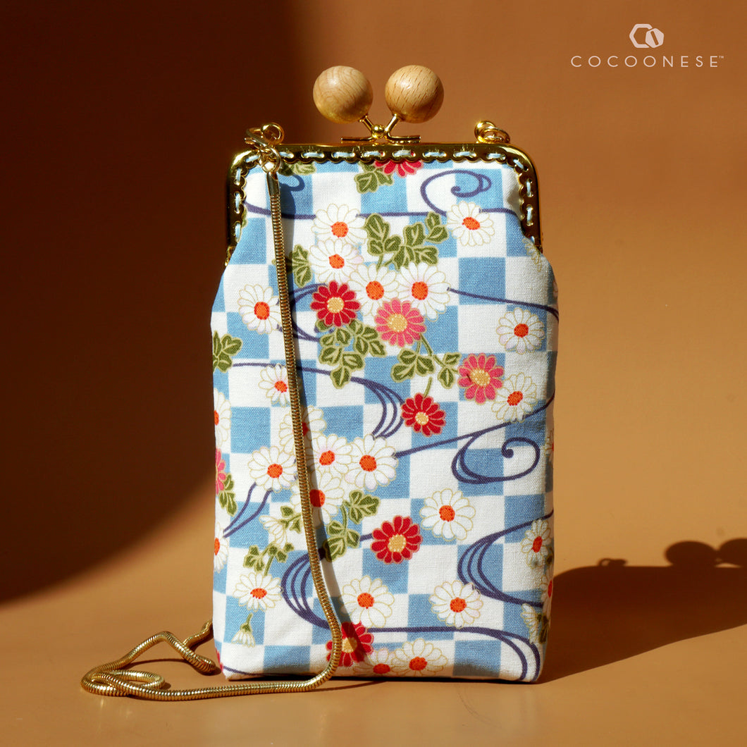 Cell Phone Purse - Plaid and Daisy (Bue)