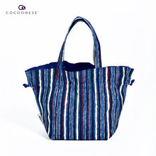 Load image into Gallery viewer, Drawstring Top Handle Handbag  - Japanese Style Lines