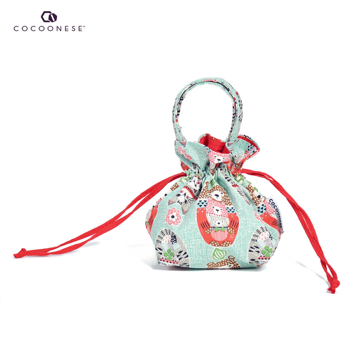 Drawstring Top Handle Handbag  - Bears love Cats (Small)