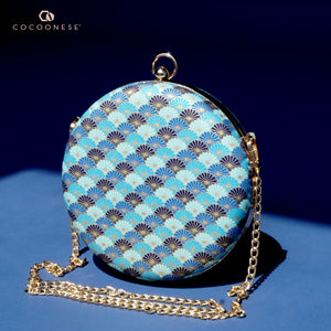 Round Hard Case Clutch Bag - Kikkamon (Blue)