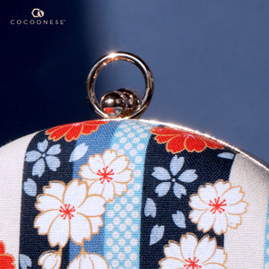 Round Hard Case Clutch Bag - Kiku Archives (Blue)