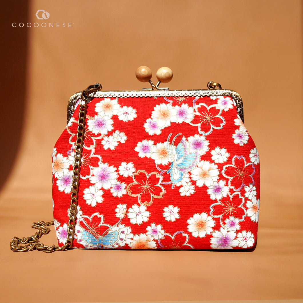 30% OFF Sling Bag with Kiss Clasp - Butterfly (Red)