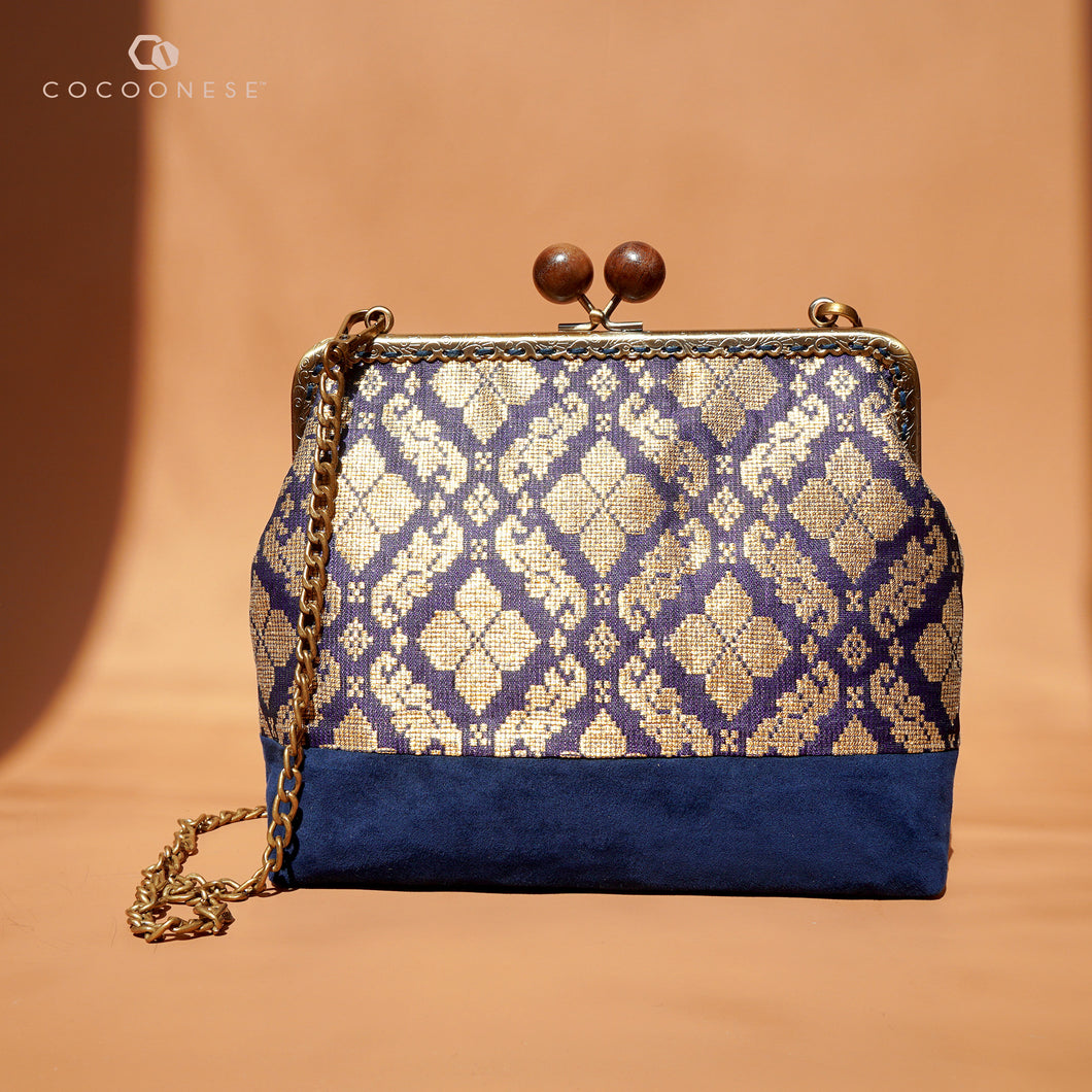 30% OFF Sling Bag with Kiss Clasp - Malay Traditional Songket (Blue)