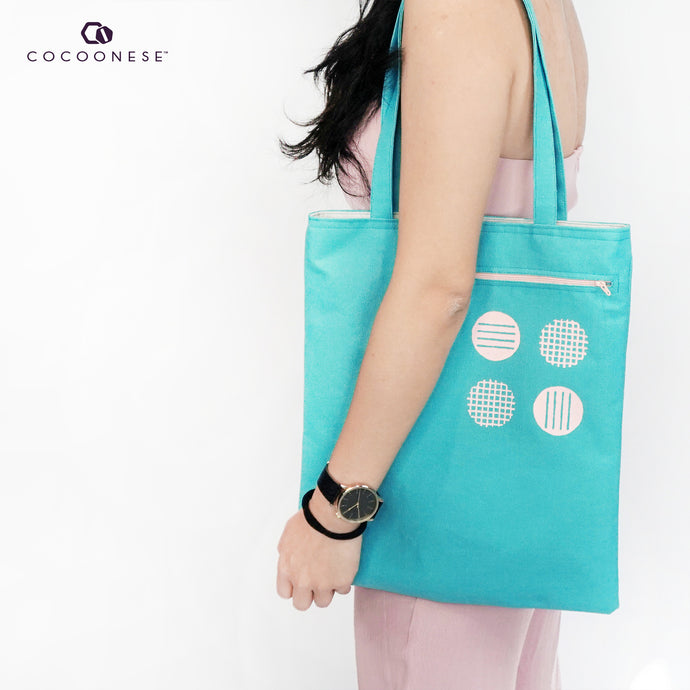 Canvas shoulder bag with Zip Pocket - Circlemesh Collection (Teal)