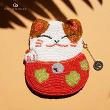 Load image into Gallery viewer, Beaded Coin Purse - Lucky Cat (Red)