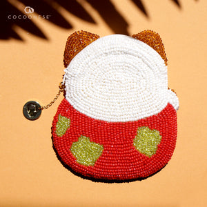 Beaded Coin Purse - Lucky Cat (Red)