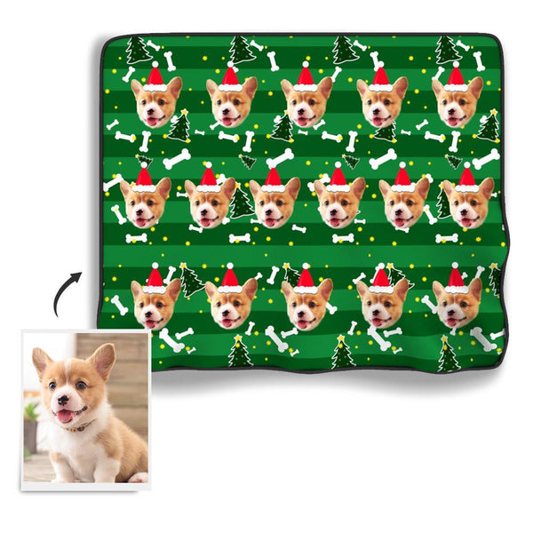 Christmas Tree Personalized Fleece Photo Blanket - Green - MyFaceBoxer