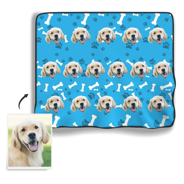 Dog paw Personalized Fleece Photo Blanket - Blue - MyFaceBoxer