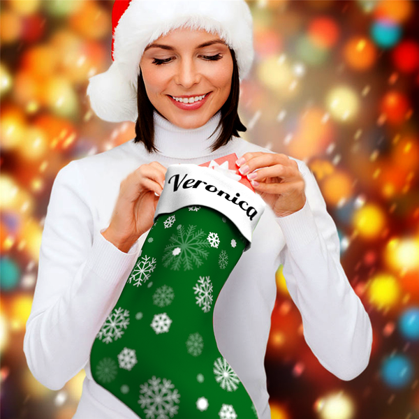 Snowflake Personalized Name Christmas Stockings - For Man, Woman, Kid