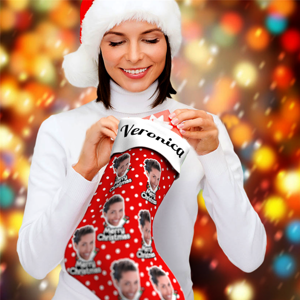 "Personalized Print Face And Name Christmas Stockings ""Merry Christmas"" - For Man, Woman, Kid"