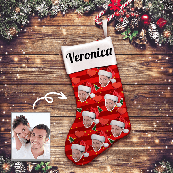 Heart Personalized Print Santa Hats Face And Name Christmas Stockings - For Man, Woman, Kid