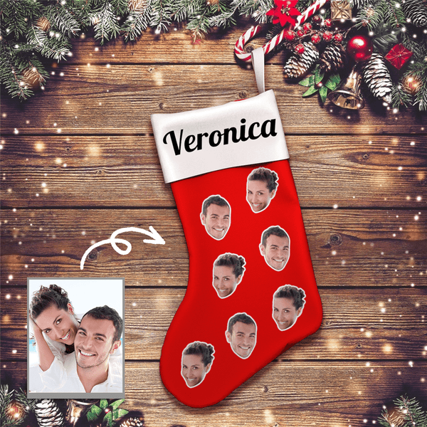 Personalized Print Face And Name Christmas Stockings - For Man, Woman, Kid