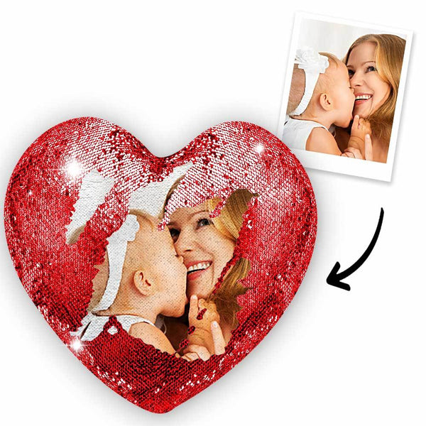 Mother's Day Gifts Custom Love Heart Photo Magic Sequin Pillow Multicolor Shiny - For Mom