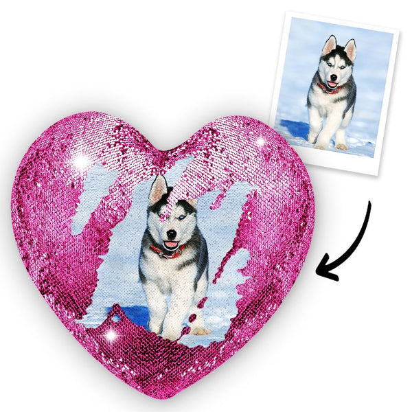 Custom Photo Pet Magic Heart Sequins Pillow Multicolor Shiny